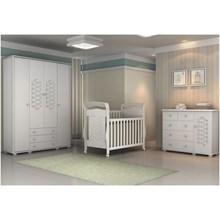Ambiente 03 Peças com Berço Elegance e Guarda Roupa 04 Portas Branco Brilho - Matic