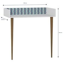 Aparador Escrivaninha Pés Palito Retrô 1003 Branco/Azul - BE Mobiliário