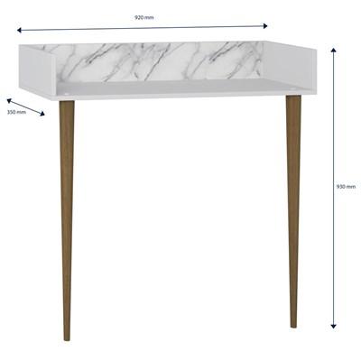 Aparador Escrivaninha Pés Palito Retrô 1003 Branco/Carrara - BE Mobiliário