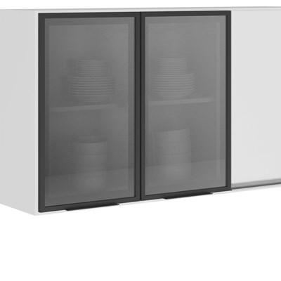Armário Aéreo 120cm 2 Portas Vidro 1 Porta MDF Kali Premium 3042.17 Branco - Nicioli