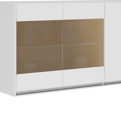 Armário Aéreo 120cm 3 Portas MDF Detalhe Vidro Reflecta Kali Premium 3042.14 Branco - Nicioli