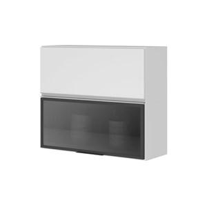 Armário Aéreo  80cm 1 Porta MDF 1 Porta Vidro Kali Premium 3064 Branco/Cinza - Nicioli