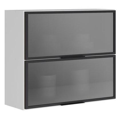 Armário Aéreo 80cm 2 Portas Basculantes Vidro Reflecta Kali Premium 3064.8 Branco/Cinza - Nicioli