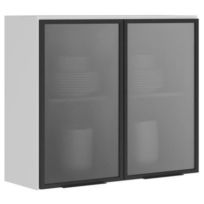 Armário Aéreo 80cm 2 Portas Vidro Reflecta 100% MDF Kali Premium 3061.8 Branco/Cinza - Nicioli