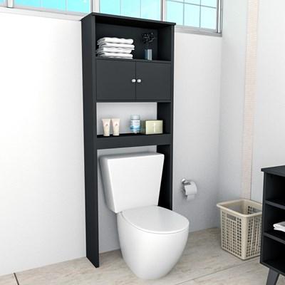 Armário Banheiro 2 Portas 3 Prateleiras Slim 5004 Preto - Appunto