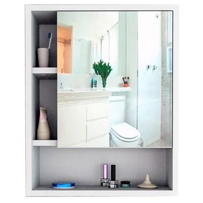 Armário Banheiro Com Nichos e Espelho Slim 5005 Branco/Castanho - Appunto