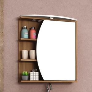 Armário de Banheiro com Espelho Duna 60cm Nogal/Branco - Bosi