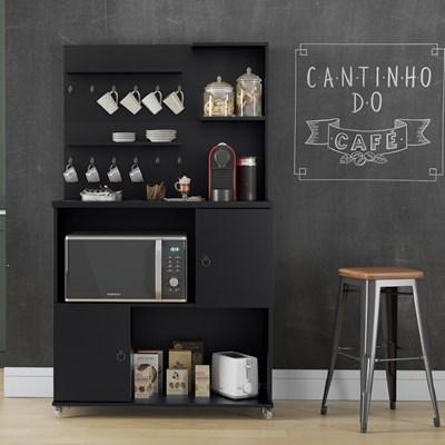 Armário Multiuso 2 Portas Cantinho do Café Aconchego Preto Acetinado - Patrimar Móveis