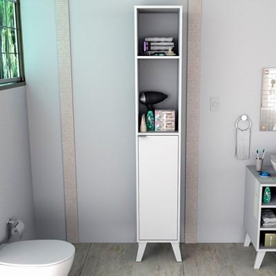 Armário Multiuso Para Banheiro 1 Porta 4 Prateleiras Slim 5003 Branco - Appunto