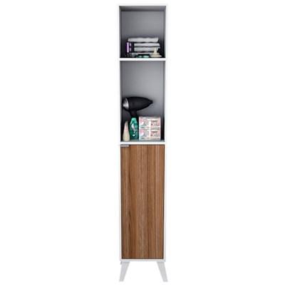 Armário Multiuso Para Banheiro 1 Porta 4 Prateleiras Slim 5003 Branco/Castanho - Appunto