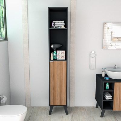 Armário Multiuso Para Banheiro 1 Porta 4 Prateleiras Slim 5003 Preto/Castanho - Appunto