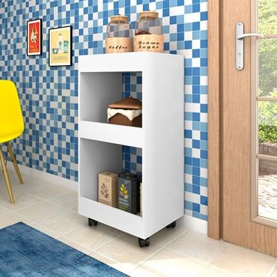 Armário Multiuso para Cozinha Seul com Rodízios Branco - Mpozenato