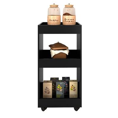 Armário Multiuso para Cozinha Seul com Rodízios Preto - Mpozenato