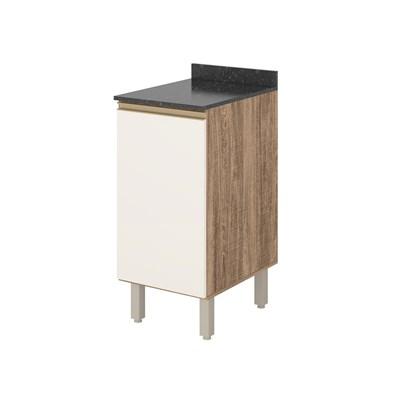 Balcão 40cm com Tampo 15mm 1 Porta 100% MDF Kali Premium 3081.21 Carvalho Rústico/Off White - Nicioli