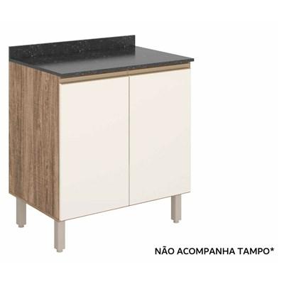 Balcão 70cm 2 Portas 100% MDF Kali Premium 3086.16 Carvalho Rústico/Off White - Nicioli