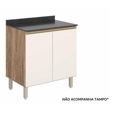Balcão 80cm 2 Portas 100% MDF Kali Premium 3095.16 Carvalho Rústico/Off White - Nicioli
