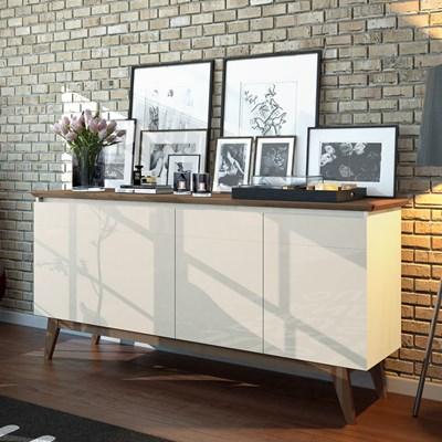 Balcão Buffet Aparador 4 Portas Classic I04 Off White/Freijó - Mpozenato