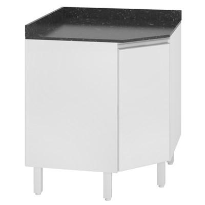 Balcão Canto Oblíquo 74cm com Tampo 25mm 1 Porta 100% MDF Kali Premium 3087.22 Branco - Nicioli