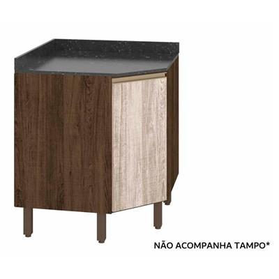Balcão Canto sem Tampo Oblíquo 74cm 1 Porta 100% MDF Kali Premium 3087.16 Amêndoa Rústico/Arezzo Rústico - Nicioli