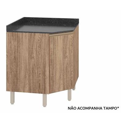 Balcão Canto sem Tampo Oblíquo 74cm 1 Porta 100% MDF Kali Premium 3087.16 Carvalho Rústico - Nicioli