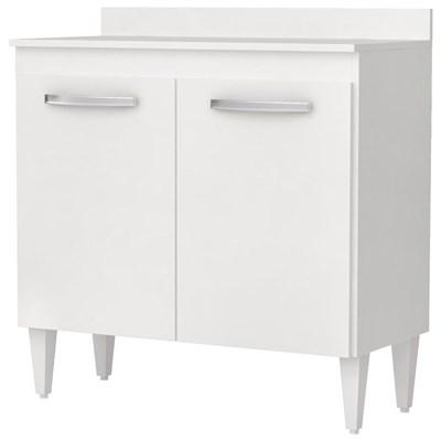 Balcão com Tampo Turim 80cm 2 Portas Branco - Lumil Móveis