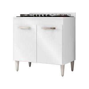 Balcão de Cozinha Cooktop Roma 2 Portas Branco - Lumil Móveis