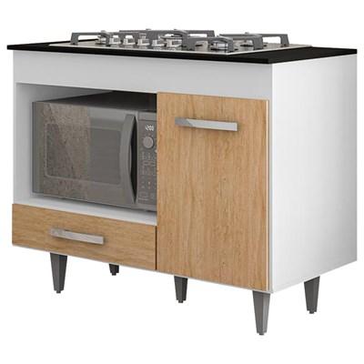 Balcão de Cozinha Gabinete Para Cooktop Londres Branco/Castanho - Lumil Móveis
