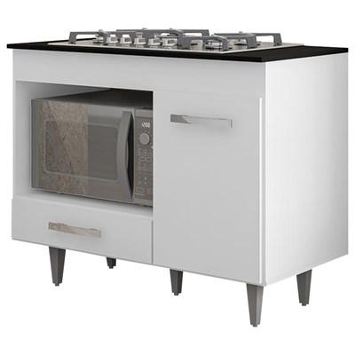 Balcão de Cozinha Gabinete Para Cooktop Londres Branco - Lumil Móveis