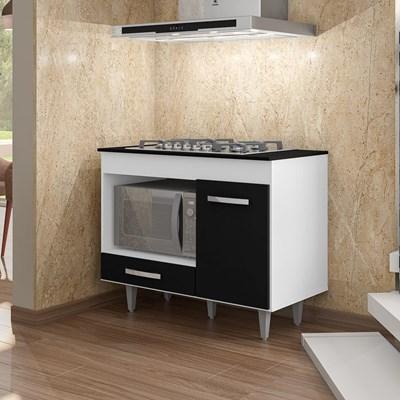 Balcão de Cozinha Gabinete Para Cooktop Londres Branco/Preto - Lumil Móveis