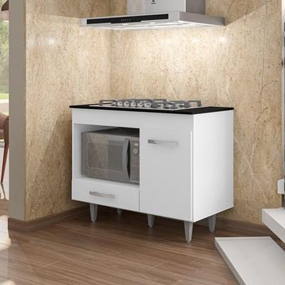 Balcão de Cozinha Gabinete Para Cooktop Londres com Tampo Branco - Lumil Móveis