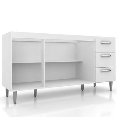 Balcão Gabinete Bruna com Pia Inox 160cm 4 Portas Branco - Poquema
