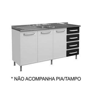 Balcão Gabinete de Pia Evidence Aço 160cm 3 Portas 7028 Branco/Preto - Bertolini