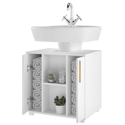Balcão Gabinete de Pia para Banheiro Versa 2 Portas BBN08 Branco - BRV