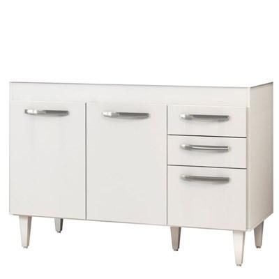 Balcão Gabinete de Pia Suécia sem Tampo 120cm 03 Portas 02 Gavetas Branco - Lumil Móveis
