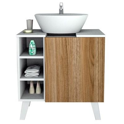 Balcão Gabinete Para Banheiro 60cm Slim 5000 Branco/Castanho - Appunto