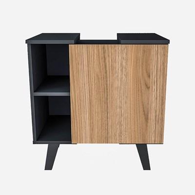 Balcão Gabinete Para Banheiro 60cm Slim 5000 Preto/Castanho - Appunto