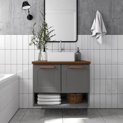 Balcão Gabinete para Banheiro 70cm 2 Portas Natura 8005 Grafite - Bertolini