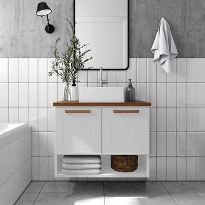 Balcão Gabinete para Banheiro Com Cuba 70cm 2 Portas Natura 8005 Branco - Bertolini