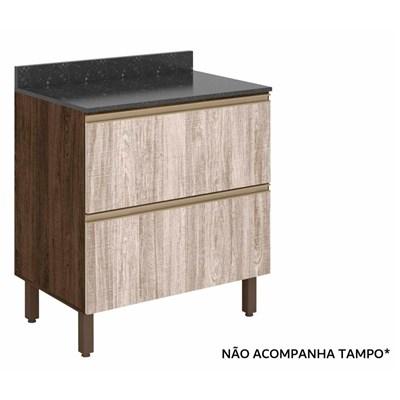 Balcão Gaveteiro 80cm 2 Gavetas 100% MDF Kali Premium 3096.16 Amêndoa Rústico/Arezzo Rústico - Nicioli