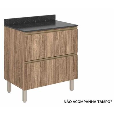 Balcão Gaveteiro 80cm 2 Gavetas 100% MDF Kali Premium 3096.16 Carvalho Rústico - Nicioli