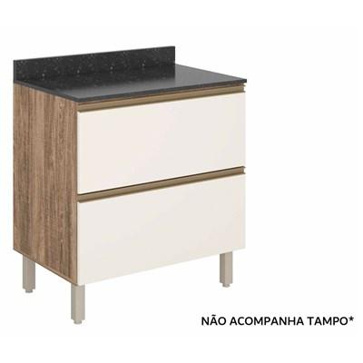 Balcão Gaveteiro 80cm 2 Gavetas 100% MDF Kali Premium 3096.16 Carvalho Rústico/Off White - Nicioli