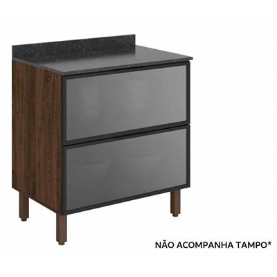 Balcão Gaveteiro sem Tampo 80cm 2 Gavetas Vidro Reflecta 100% MDF Kali Premium 3096.23 Amêndoa Rústico/Cinza - Nicioli