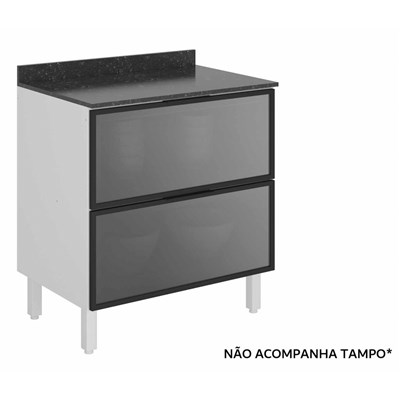Balcão Gaveteiro sem Tampo 80cm 2 Gavetas Vidro Reflecta 100% MDF Kali Premium 3096.23 Branco/Cinza - Nicioli