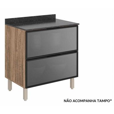 Balcão Gaveteiro sem Tampo 80cm 2 Gavetas Vidro Reflecta 100% MDF Kali Premium 3096.23 Carvalho Rústico/Cinza - Nicioli