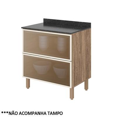 Balcão Gaveteiro sem Tampo 80cm 2 Gavetas Vidro Reflecta 100% MDF Kali Premium 3096.52 Carvalho Rústico/Off White - Nicioli
