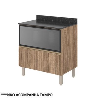 Balcão Gaveteiro sem Tampo 80cm Vidro Reflecta Kali Premium 3098.29 Carvalho Rústico - Nicioli