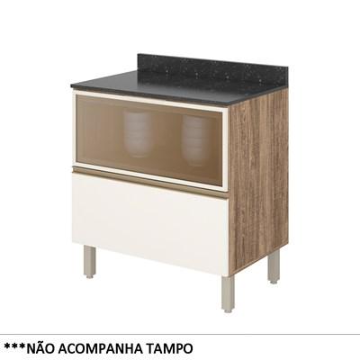 Balcão Gaveteiro sem Tampo 80cm Vidro Reflecta Kali Premium 3098.55 Carvalho Rústico/Off White - Nicioli