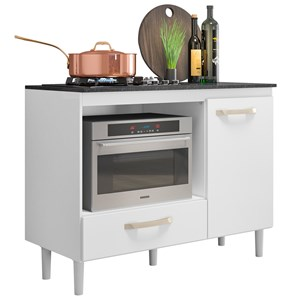 Balcão Multiuso para Cooktop e Forno Microondas Fit Branco - Nicioli
