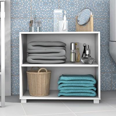 Balcão Organizador Multiuso para Banheiro e Lavanderia BBN 63 Branco - BRV Móveis