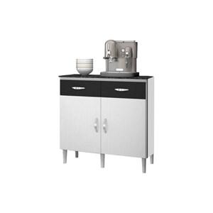 Balcão para Cozinha 02 Portas 02 Gavetas Talita Branco/Preto - MoveMax